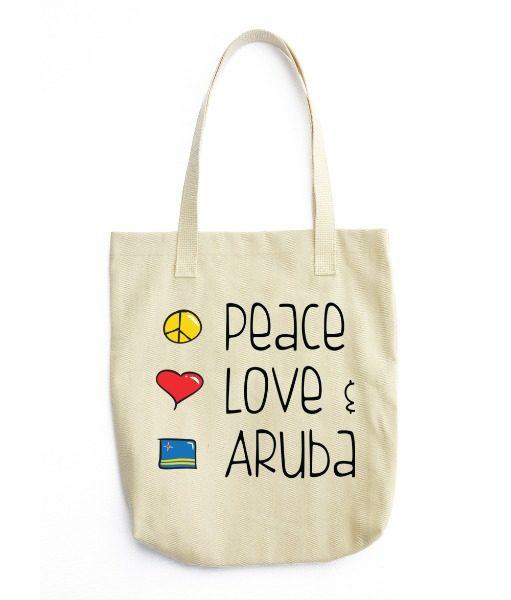 Peace Love Aruba canvas bag
