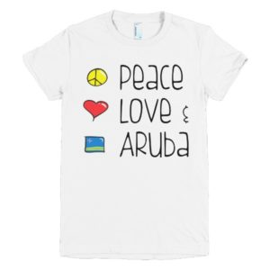 Peace Love Aruba white ladies tee
