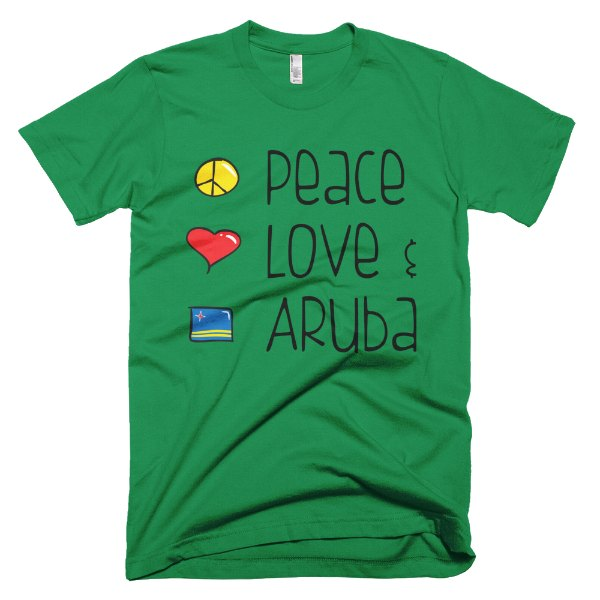 Peace Love and Aruba Men's Tee - Kelly Green