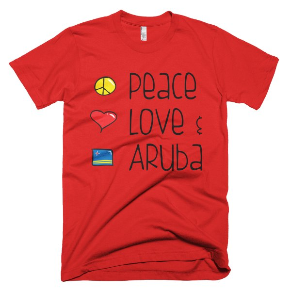 Peace Love and Aruba Men's Tee - Red